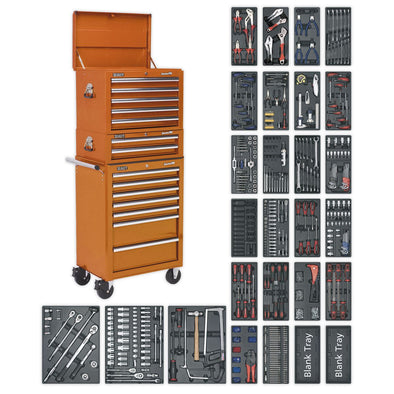 Sealey Superline Pro Tool Chest Combination 14 Drawer with Ball Bearing Slides - Orange & 1179pc Tool Kit