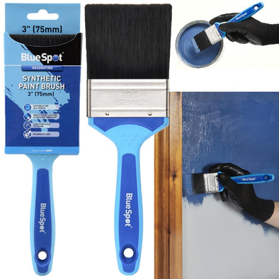 "BlueSpot Synthetic Paint Brush with Soft Grip Handle 75mm (3"")"