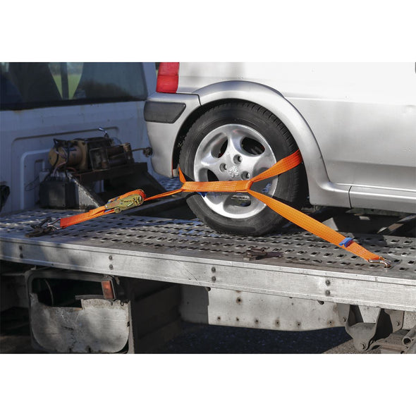 Sealey Car Transporter Ratchet Tie Down 50mm x 3m Alloy Wheel - Single 5000kg Load Test