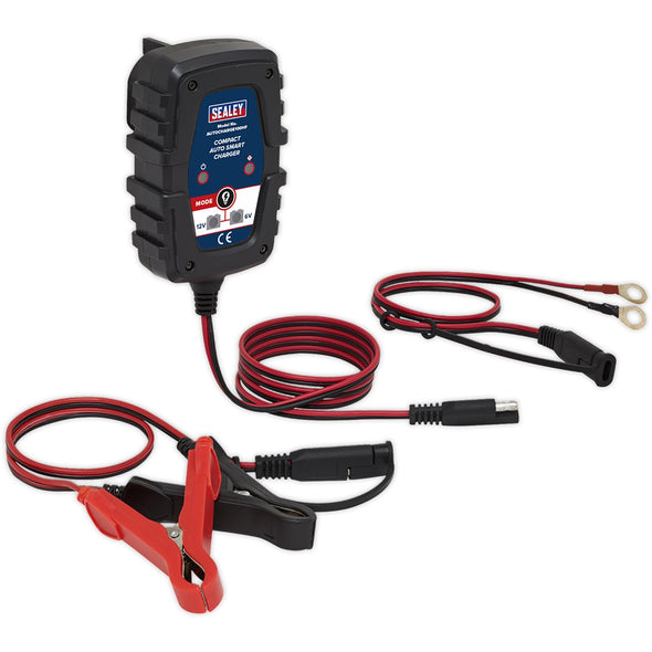 Sealey Compact Auto Smart Battery Charger 1A 6V/12V Dual Voltage