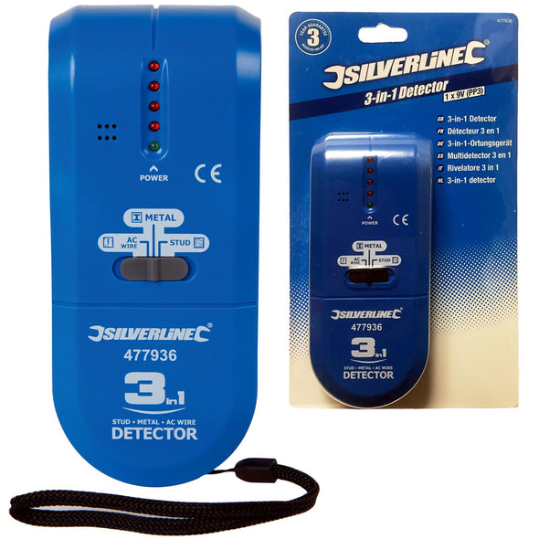 Silverline 3 in 1 Detector Volt Stud Metal Live AC Wire Joist Tester