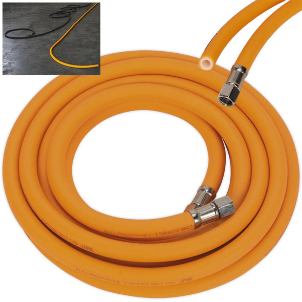 "Sealey 5m x Ø8mm High Visibility Hybrid Air Hose 1/4"" BSP Unions"