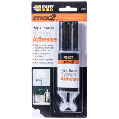 EverBuild Rapid Epoxy Syringe Adhesive Stick 2 24ml for Metal Glass Ceramics Plastics Wood