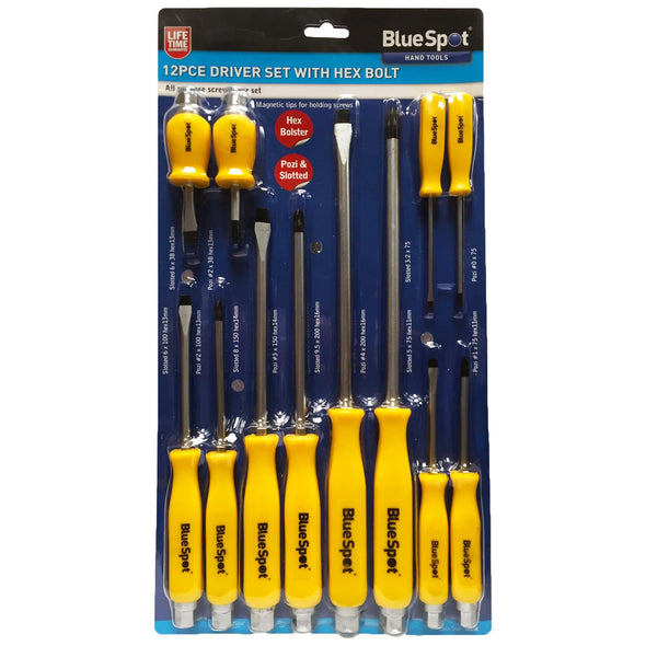 BlueSpot Screwdriver Set with Hex Bolster 12 Piece Magnetic Tips