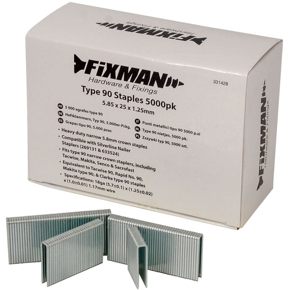 Fixman 5000pc Type 90 Staples 5.80 x 25 x 1.25mm