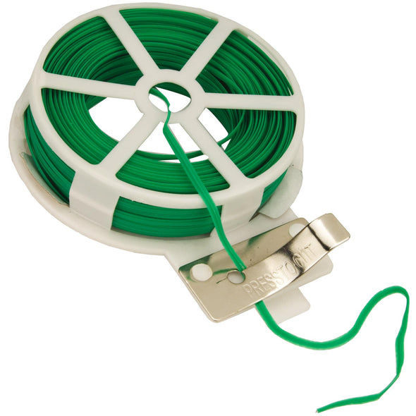 Silverline 30m Garden Tie Wire Reel Plants Flowers Reusable Coated Twist Reel