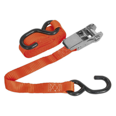 Sealey Ratchet Tie Down 25mm x 4.5m Polyester Webbing with S-Hook 800kg Load Test
