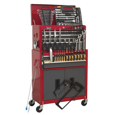 Sealey American Pro Topchest & Rollcab Combination 6 Drawer with Ball Bearing Slides - Red/Grey & 128pc Tool Kit