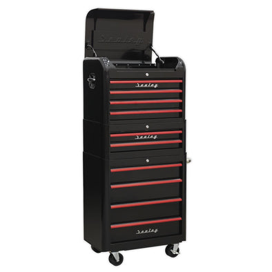 Sealey Premier Retro Style Topchest, Mid-Box & Rollcab Combination 10 Drawer - Black with Red Anodised Drawer Pulls
