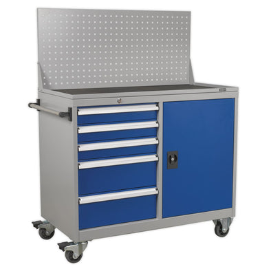 Sealey Premier Industrial Industrial Mobile Workstation 5 Drawer & 1 Shelf Locker