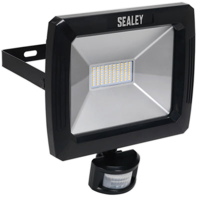 Sealey 70W SMD LED Floodlight with Wall Bracket & PIR Sensor 5600 Lumens 230V