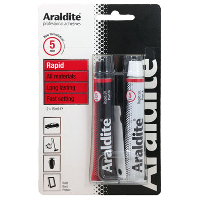 Araldite 2 x 15ml Rapid 5 Min Setting Strong Epoxy 2 Part Glue