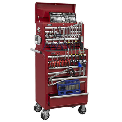 Sealey Superline Pro Topchest & Rollcab Combination 15 Drawer with Ball Bearing Slides - Red & 147pc Tool Kit