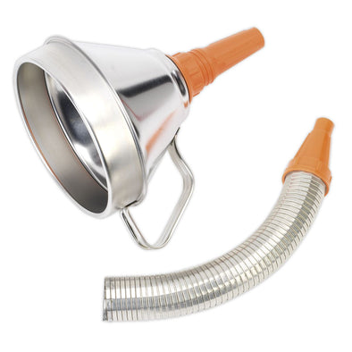 Sealey Funnel Metal with Flexible Spout & Filter Ø160mm