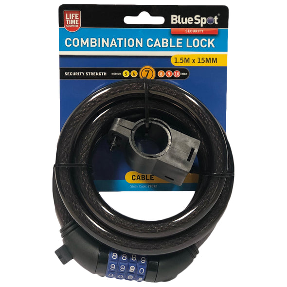 BlueSpot 1.5m x 15mm 4 Digit Combination Cable Lock