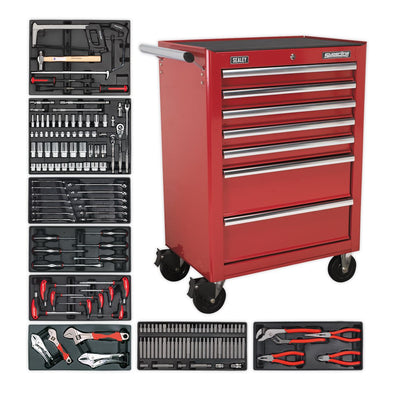 Sealey Superline Pro Rollcab 7 Drawer - Ball Bearing Slides - Red with 156pc Tool Kit