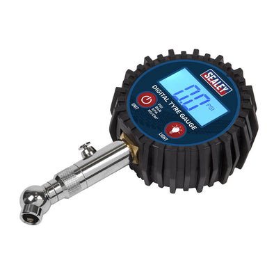 Sealey Digital Tyre Pressure Gauge with Swivel Head & Quick Release