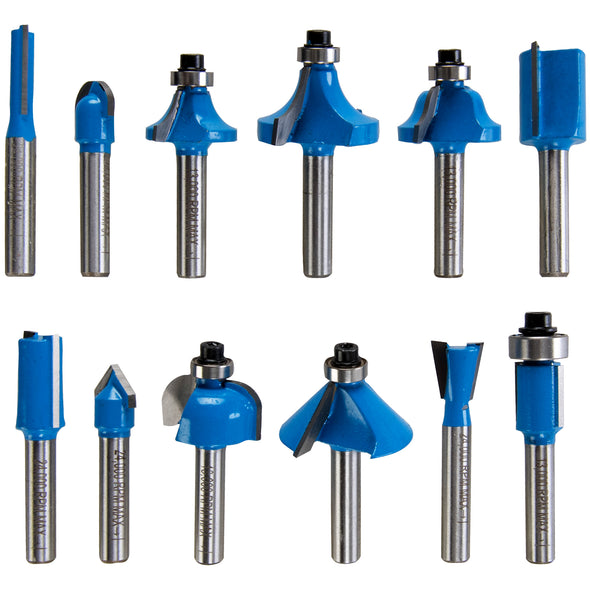 "Silverline 12 Piece 1/4"" TCT Router Bit Set"