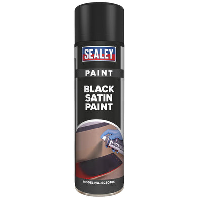 Sealey Black Satin Spray Paint 500ml for Metal Wood Plastic Fast Drying