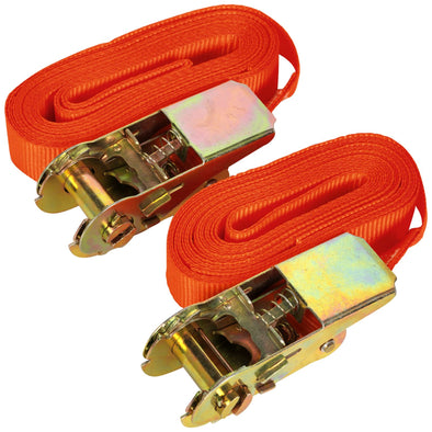 Sealey 500kg Ratchet Tie Down 25mm x 4.5m - Pair Cargo Lash Self Securing