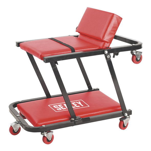 Sealey Creeper/Seat Steel with 7 Wheels & Adjustable Head Rest