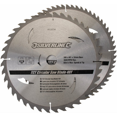 Silverline 2 Piece 300 x 30mm TCT Circular Saw Blades 40 & 60T