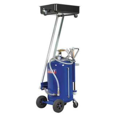 Sealey Mobile Oil Drainer with Probes 80L Cantilever Air Discharge