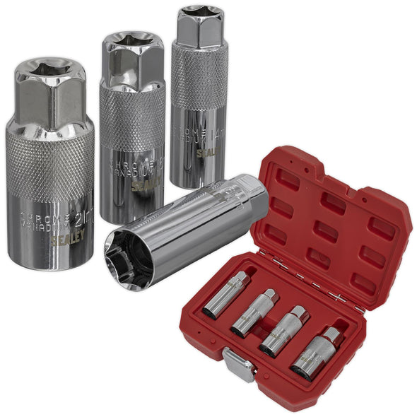 "Sealey Spark Plug Socket Set 4 Piece 3/8"" Drive 14mm 16mm 21mm Sockets"