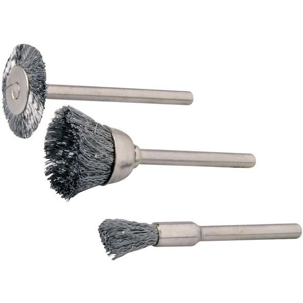 Silverline 3 Piece Steel Brush Set 5, 15 & 19mm Rotary Cleaning Wire
