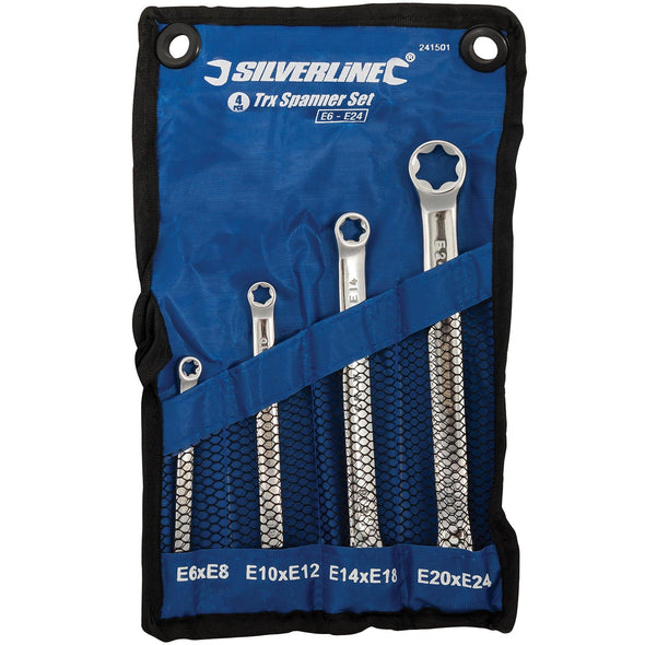 Silverline 4 Piece Trx Spanner Set E6-E24 High Torque Mechanic