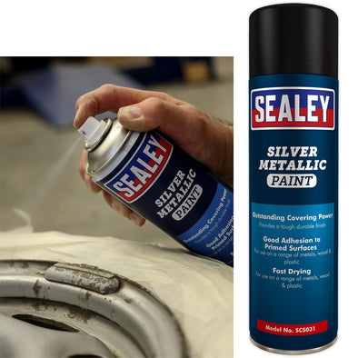 Sealey Silver Spray Paint 500ml for Metals Wood Plastic Fast Drying