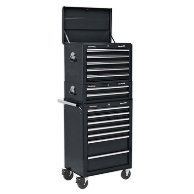Sealey Topchest, Mid-Box & Rollcab Combination 14 Drawer with Ball Bearing Slides - Black