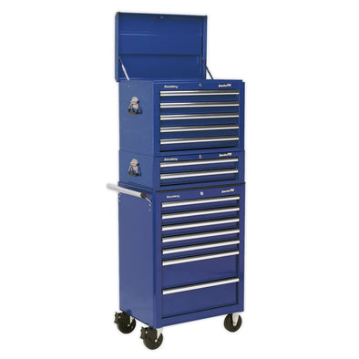 Sealey Topchest, Mid-Box & Rollcab Combination 14 Drawer with Ball Bearing Slides - Blue