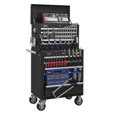 Sealey Superline Pro Topchest & Rollcab Combination 10 Drawer with Ball Bearing Slides - Black with 147pc Tool Kit
