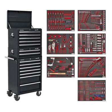 Sealey Superline Pro Tool Chest Combination 14 Drawer with Ball Bearing Slides - Black & 446pc Tool Kit