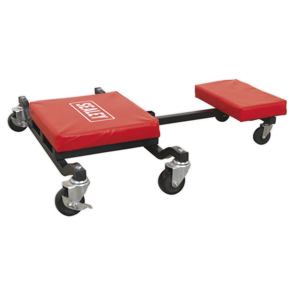 Sealey Low Level Creeper Seat and Kneeler 150kg Capacity Mechanics Under Car Crawler