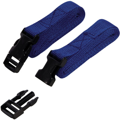 Silverline 2 Piece Clip Buckle Strap Set 2m x 25mm Luggage Roof Rack Tie