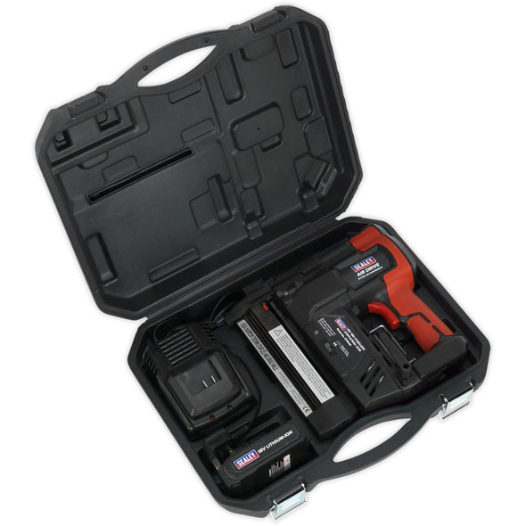 Sealey 18V Cordless 18 Gauge Staple Nail Gun with 2Ah Li-ion Battery Charger Case