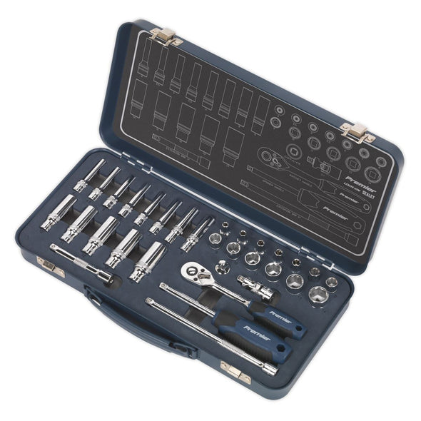 "Sealey Premier 32 Piece 1/4"" Drive Lock On Socket Set 4-14mm Ratchet Handle"