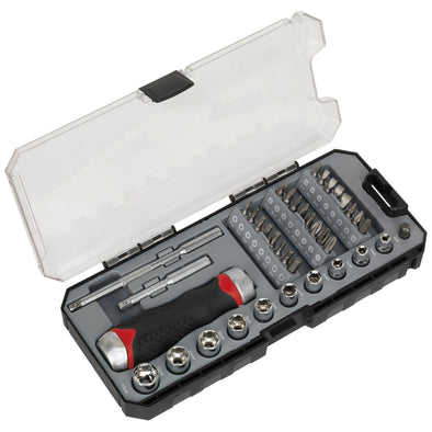 Sealey Premier 38 Piece Fine Tooth Ratchet Screwdriver & Accessory Set Socket Bit Set