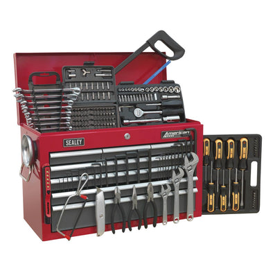 Sealey American Pro Topchest 9 Drawer with Ball Bearing Slides - Red/Grey & 205pc Tool Kit