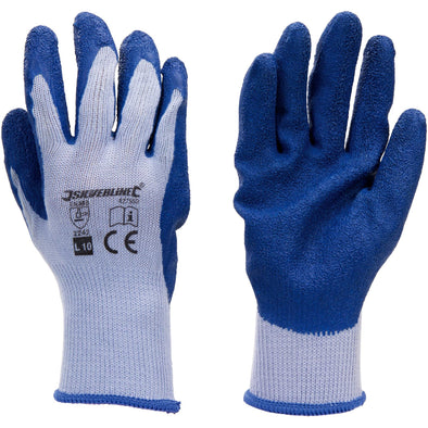 Silverline Latex Builders Glove Heavy Duty Work Safety Garden Construction