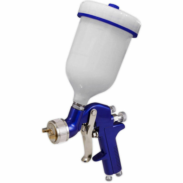 Sealey Gravity Feed Spray Gun 1.3mm Set Up 600ml Paint Pot Vehicle Car Blue