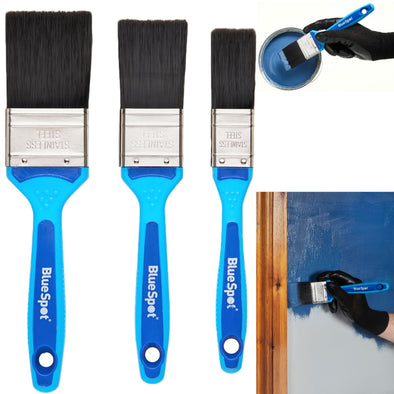 BlueSpot Synthetic Paint Brush Set with Soft Grip Handle 3 Piece 25mm 38mm 50mm