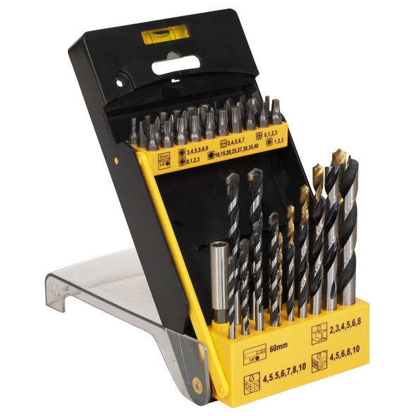 Siegen 48 Piece Drill Bit and Accessory Set Masonry Wood HSS Drill Bits Holder
