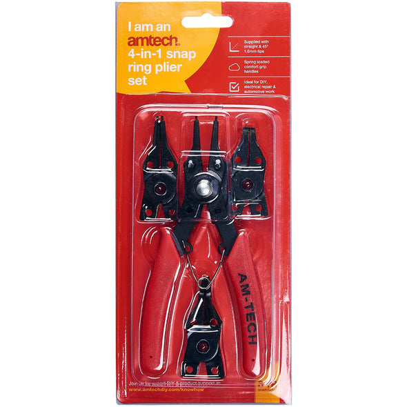 Amtech 4 in 1 Circlip Plier Set Snap Ring