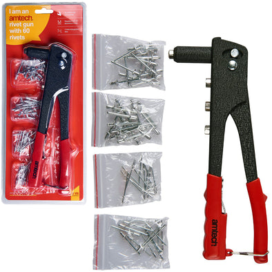 Amtech Hand Rivet Gun with 60 Rivets