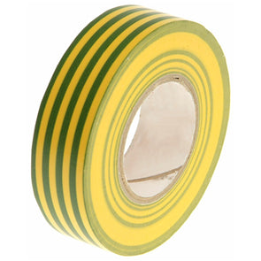 Faithfull Green & Yellow (Earth) PVC Electrical Tape 19mm x 20m