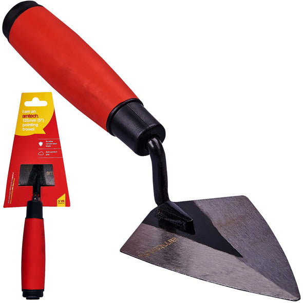 "Amtech 125mm (5"") Pointing Trowel with Soft Grip Handle"