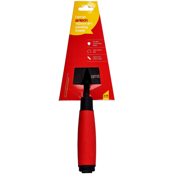 "Amtech 150mm (6"") Pointing Trowel with Soft Grip Handle"